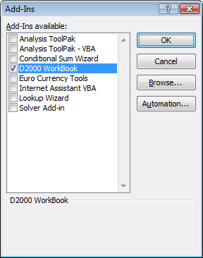 D2000 WorkBook add-in