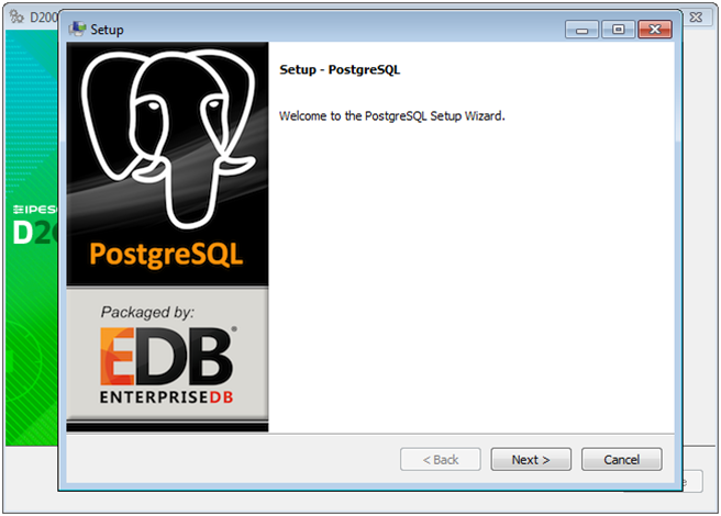 PostgreSQL installation - welcome window