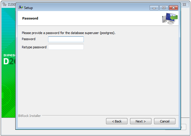 PostgreSQL installation - setting password