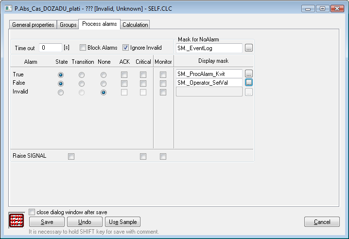 Configuration dialog box of Eval tags - Process alatms tab