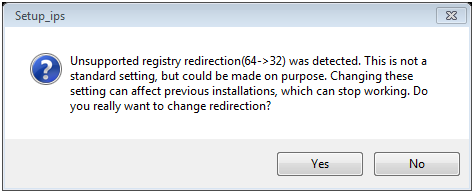 Unsupported registry redirection